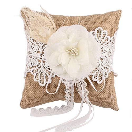 Ellie's Bridal 19,8 cm 18,8 cm Hochzeit Ringkissen Kissen Sackleine Rustikal Country Bearer