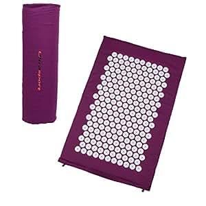 Ultrasport tapis d'acupressure / tapis de yantra y compris un sac de transport, tapis de stimulation par aiguilles polyvalent, tapis compact et mobile - tapis pour la relaxation et la réduction du stress, disponible en 3 tailles, Pourpre, 78x46x2