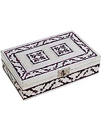 Store Indya, Caja de almacenamiento impresionante joyeria baratija de pecho Organizador del recuerdo de madera con textura grabada en relieve de aluminio