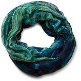 styleBREAKER Flammen Muster Batik Style Loop Schlauchschal 01018041 (86x94 cm, Aquagrün-Blau)