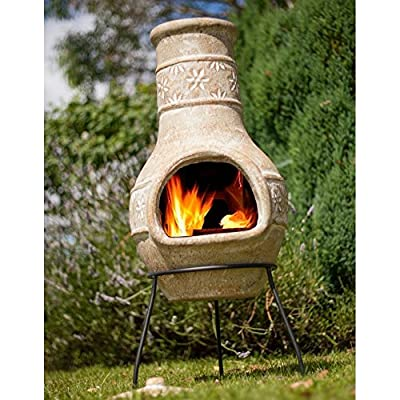 Straw Coloured Clay Chimenea - Medium - Flower Motif Design That Burns Wood And Is Great For Campfire Cooking from La Hacienda