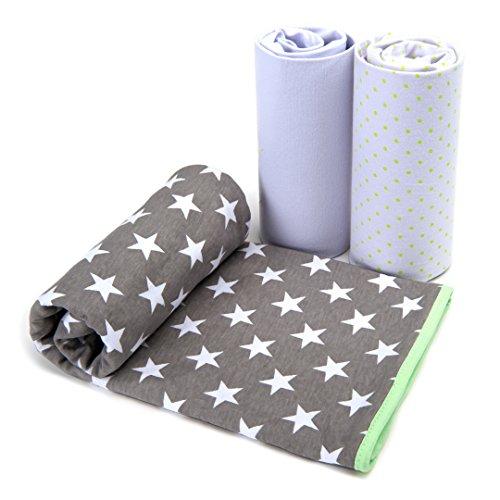 BabyCareGuru Babydecke Kuscheldecke Set aus 100% Baumwolle (80X100cm) PLUS 2 Spannbettlaken (45X90cm) | Unisex Puckdecke Erstlingsdecke + Bettlaken für Mädchen & - Baby-krippe Bettwäsche-sets