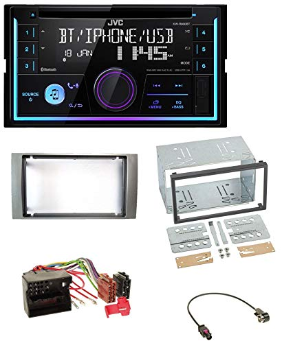 caraudio24 JVC KW-R920BT Bluetooth 2DIN AUX CD MP3 USB Autoradio für Ford Fiesta Focus 2004-2008 Silber (Ford Cd-player)