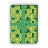 Lustiges Weihnachtsbaum Geschenkpapier Set (4 Blatt) mit Weihnachtskugeln für tolle Geschenk Verpackung (4 Bögen, 32 x 48cm), auf grün