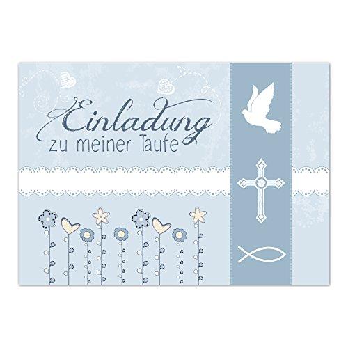 15 x Einladung zur Taufe / Einladungskarten mit Umschlag im Set / Motiv: Einladung zu meiner Taufe Vintage Blau / Baby Taufkarte / Grußkarte / Postkarte /