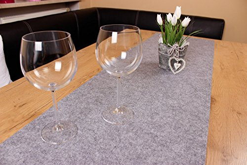 XXL Tischläufer Tischband aus edlem Filz, modernes graumeliert (+ weitere Farben), ca. 40x150cm, abwaschbar. Original von Luxflair®