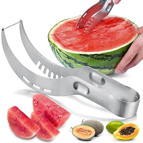 UBEGOOD Wassermelonen Messer, Wassermelonen Schneider Edelstahl Melonenausstecher, Smart Kitchen Gadget & Perfekte Geschenk - Silber