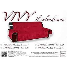 COPRIDIVANO BX SALVADIVANO VIVY TRAPUNTATO PIANO LISCIO ROSSO-BORDEAUX - 4 POSTI seduta cm. 230