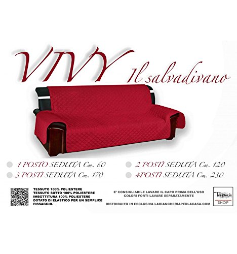 Copridivano bx salvadivano vivy trapuntato piano liscio rosso-bordeaux - 2 posti seduta cm. 120