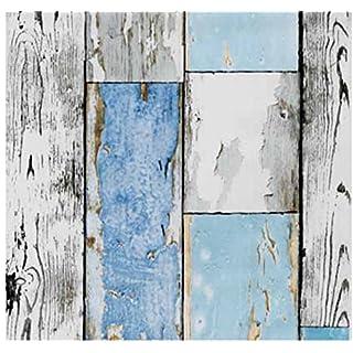 Klebefolie Holzdekor- Möbelfolie Holz Scrapwood blau - 45 cm x 200 cm Dekorfolie Selbstklebefolie