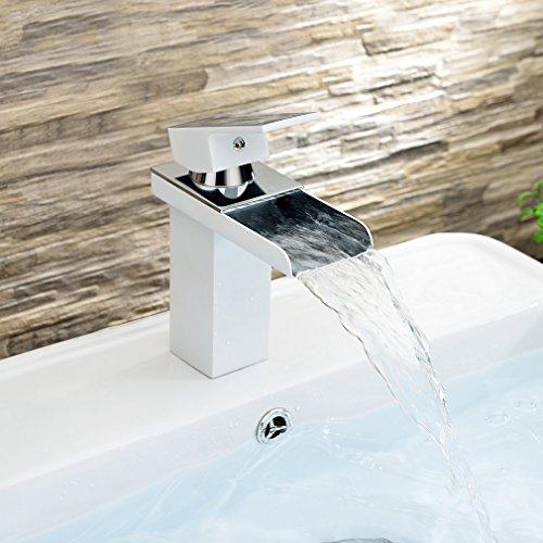 Auralum® Contemporaneo vernice Bianco Rubinetto Miscelatore lavabo a Cascata Rubinetti Bagno