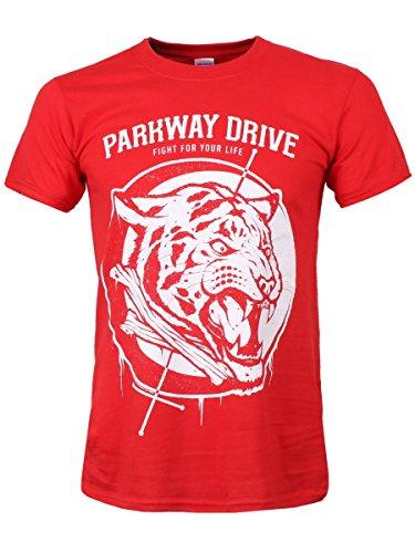 Parkway Drive tigre ossa Men & # 39; s Maglietta Rosso