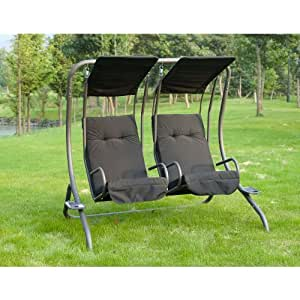 outdoor living lyon balancelle double si ge avec porte tasse jardin. Black Bedroom Furniture Sets. Home Design Ideas