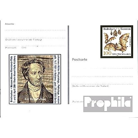 documentos enteropostales para coleccionistas: RFA (RFA.Alemania) pso75 postal especial matasellado de favor usado 2001 grandes Murciélago de