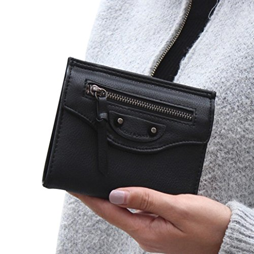 brieftasche damen Kolylong Frau Reißverschluss Kupplung Kurz Geldbörse ( etwa 10,5 * 12,6 * 1.8cm / 4.1 * 5 * 0.7inch) (Schwarz) (Glamour Kupplung Leder)