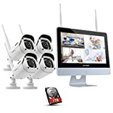 ANNKE 4CH 1080P FHD Wi-Fi NVR Video Surveillance System,1TB Hard Drive with 12'' LCD Monitor, Plug and Play System, Automatic Screen Saver, 4x 1080P Indoor & Outdoor Bullet IP Cameras, IR Night Vision, Remote Access