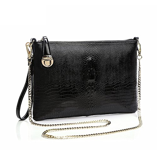 SHINGING KIDS Krokodil Muster Diagonal Schulter Großraum Leder Handtaschen Clutch Bag Chain Bag,Black