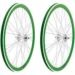2x Llanta Rueda para Bicicleta Fixed Fixied de 700 Aluminio CNC MECANIZADO Piñon Fijo Color VERDE 3750verde
