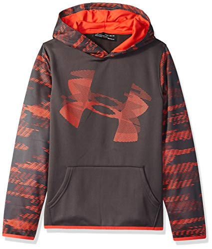 Under Armour Jungen Armour Fleece Sleeve Hoodie, Jungen Jungen, Kapuzenpullover, Boys' Armour Fleece Sleeve Hoodie, Charcoal (019)/Radio Red, Youth X-Large Red Youth Hoodie