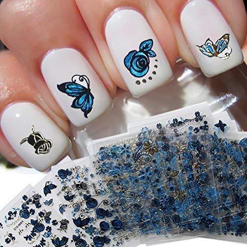Carry stone24 feuilles 3D Indigo Gold et Silver Nail Art Stickers Nail Stickers Stickers Nail Diamonds Décorations Pour Filles Filles Durable et Pratique
