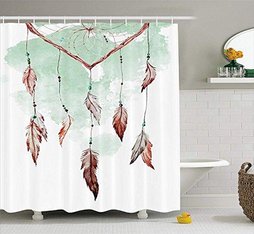 Cortina de ducha de plumas por Watercolor vibrante atrapasueños con elementos ornamentales de diseño tradicional, juego de decoración de baño de tela con ganchos, extra largo, color verde menta marrón
