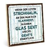 TypeStoff Holzschild mit Spruch - WENN DER LETZTE STROHHALM - im Vintage-Look mit Zitat als Geschenk und Dekoration (Größe: 19,5 x 19,5 cm)