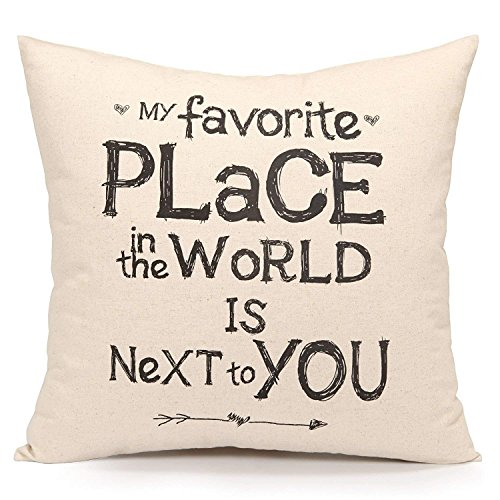 (Zcfhike HX-LDS Practical Softly Throw Kissen Cover Cushion Sham Case, Inspirational Sweet Love Quote Print)