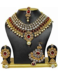 Shining Diva Non Precious Metal Traditional Kundan Jewellery Set, Necklace Set for Women with Earrings Maang Tikka and Passa (Red)