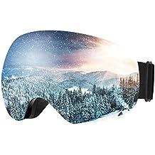 Topop Esquí de Snowboard para Adultos, Gafas de Nieve Unisex con Anti-niebla y Tratamiento de Protección UV400, Lentes Gran Angular y Esférica, para Hombres y Mujeres, Color Gris