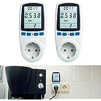 Asigo 2er Set Energiekosten-Messgerät Premium, Stromtarif frei einstellbar, Stromverbrauch, Energiekostenmessgerät, Stromverbrauchszähler | Deutscher Hersteller