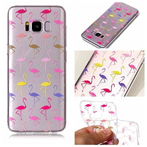 Ecoway TPU Funda Funda para Samsung Galaxy S8, Ultra Delgado Carcasa Antideslizante Suave Parachoques Resistente a los arañazos Contraportada Funda de silicona transparente transparente Parachoques Carcasa Funda Bumper - Flamingo