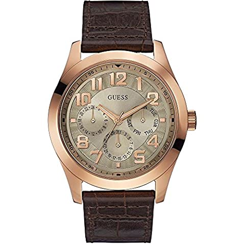 Guess Herren-Armbanduhr Analog Quarz Leder W0597G1