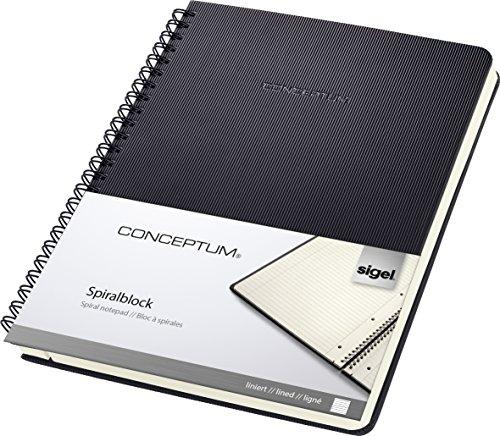 SIGEL CO823 Blocco spiralato Conceptum, copertina rigida, 160 pagine a righe, circa A5, nero