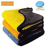 Paños de limpieza de microfibra para coche 3 Pack + Toalla de limpieza de secado con cera para pulir con cera 840GSM sin pelusa, doble capa Ultra-gruesa, extragrande, 15 'x17.7'