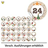 24 Adventskalender-Zahlen + 11 Motive (Aufkleber Etiketten Sticker) | Romantic Snow Dekor | Schrift: Butterkeks | Rund | S » Ø 24 mm | Creme-Beige | FA0013-01