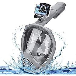 Speedsporting Masque de Plongée, Masque Snorkeling Plein Visage 180° Visible, Antibuée Anti-Fuite sous-Marine, Snorkel Masque avec la Support pour Caméra de Sport