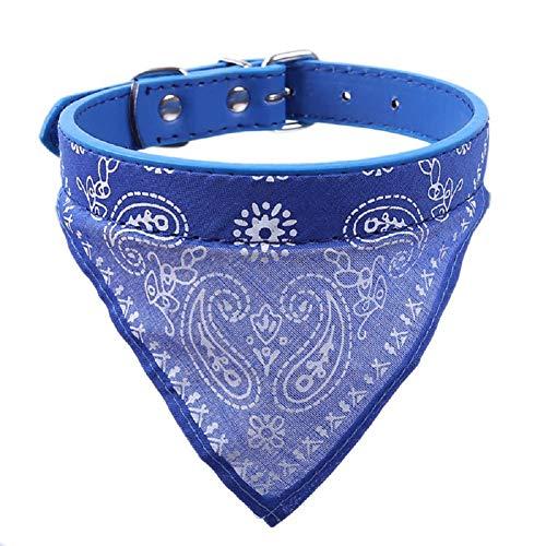 LAAT Bandanas für Hunde und Katzen Triangle Schal Schal Halsband Bandanas Verstellbarer Kragen PU Leder Hunde Katze Tier (Blau) -