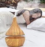 ZEZKT-Home 300ml Aroma Diffuser   Luftbefeuchter Öl Ultraschall Düfte Humidifier Holzmaserung LED Aromatherapie Diffusor   7 LED Farbe   für Wohnzimmer, Schlafzimmer, Büro, Yoga, Spa, Raum usw.(Gelb)