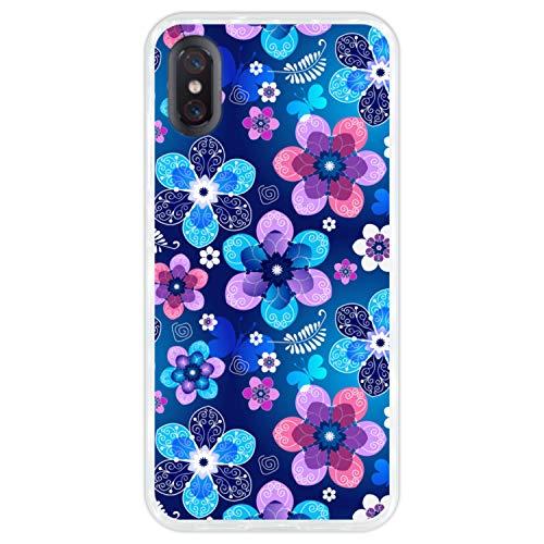 Hapdey Funda Transparente para [Xiaomi Mi 8 Pro] diseño [Patrón Floral de Primavera] Carcasa Silicona Flexible TPU