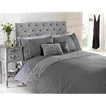 Chateau de Belle Maison Set copripiumino per letto super king size con fascia decorativa con rose in rilievo, materiale: policotone, colore: grigio