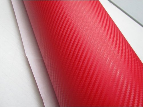 12''x60 '' Red Carbon Fiber 3D Film sergé feuille de vinyle Wrap Rouleau