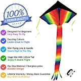 Huge Rainbow Delta Kite for Kids and Adults - Very Easy to Fly - Great for Beginners - Comes with String and Handle