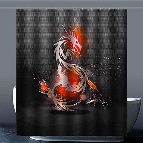 Brauch Dragon Drachen Dusche Vorhang Shower Curtain Wasserdicht Polyester Fabrik für Bad 152 Zentimeters x 183 Zentimeters