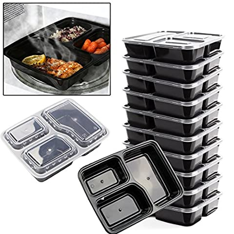 JJOnlineStore - FLASH SALES - 10x Reusable 3 Compartments Microwave Safe Stackable Meal Prep Containers Plastic Food Storage Box Set