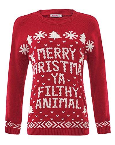 """Style Divaa Weihnachts-Pullover für Damen und Kinder mit Olaf von """"Die Eiskönigin"""" als Motiv Gr. S/M, Red-Merry Christmas Ya Filthy Animal (Schlitten Mit Pom)"""
