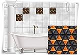 Fliesenaufkleber Fliesenbild Fliesen Aufkleber Mosaik Orange Kachel Bad WC Küche Deko Kachel Badezimmer, 8 Stück, 10x10cm