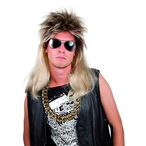 PartyMarty 80-er Jahre Set Best. aus 1 x Vokuhila-Perücke, 1x Sonnenbrille, 1x Goldkette für Fasching, Bad Taste Party