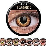 Amakando Braune Farblinsen mit schwarzem Rand Dämmerung Augenlinsen MondscheinMotivlinsen Twilight Kontaktlinsen Effektlinsen