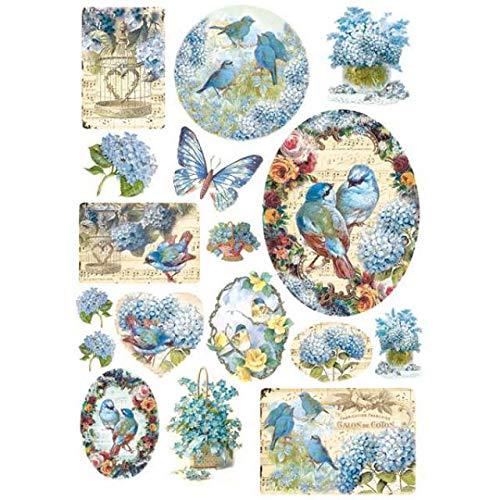 STAMPERIA DFSA4077 A4 Reispapier verpackt Vögel und hellblaue Schmetterlinge, Mehrfarbig, 29.7 x 21