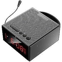 AncordWorks Inalámbrico Impermeable Bluetooth Altavoces & Antena FM Radio Despertador Free Hand Róbalo Recargable Tarjeta de la ayuda TF SD 3.5mm AUX En voz alta y de cristal 8W Negro